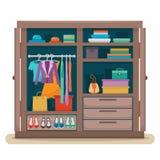 Garderobe met kleren Royalty-vrije Stock Afbeeldingen