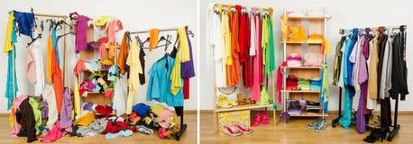 Garderobe vor unordentlichem nach sauberem vereinbart durch Farben Lizenzfreies Stockfoto