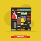 Garderobenraum Innen voll von den Frauen- und Mannstoffen Vektorillustration im flachen Artdesign lizenzfreie abbildung