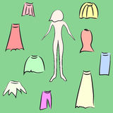 Garderobkvinnas kjol. Arkivfoton