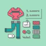 Garderobuppsättning, modehandbok, kompletterande kläder, tillfälliga kläder, färgval, bra dräktkombination royaltyfri illustrationer