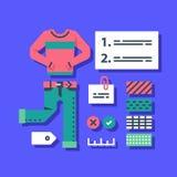 Garderobuppsättning, modehandbok, kompletterande kläder, tillfälliga kläder, färgval, bra dräktkombination stock illustrationer