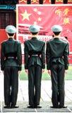 Gardes à la Place Tiananmen, Pékin, Chine 2 Photo stock