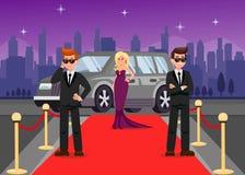 Gardes du corps et personnages de dessin animé féminins de célébrité illustration stock