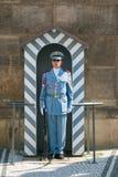 Gardez devant le château de Prague et le palais présidentiel Photos stock