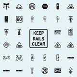 gardez l'icône claire de signe de rails Ensemble universel d'icônes ferroviaires d'avertissements pour le Web et le mobile illustration stock