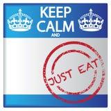 Gardez le calme et mangez juste l'insigne illustration de vecteur