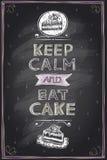 Gardez le calme et mangez les guotes d'un gâteau raillent vers le haut de la conception illustration de vecteur