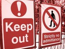 Gardez signe à l'extérieur image libre de droits