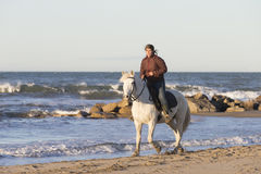 Gardians riding on White horse of Camargue France Royalty Free Stock Photography