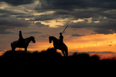 Gardians riding on White horse of Camargue France Royalty Free Stock Photos
