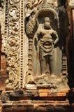 Gardien découpé par temple du Cambodge Angkor Preah Ko Photographie stock libre de droits