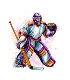 Gardien de but abstrait d'hockey de l'éclaboussure des aquarelles Croquis tiré par la main Sport d'hiver illustration libre de droits