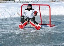 Gardien de but d'hockey Photographie stock