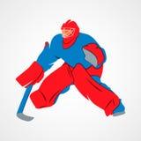 Gardien de but d'hockey de joueur Images libres de droits