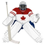 Gardien de but d'hockey du Canada d'équipe Photos stock