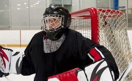 Gardien de but de hocley de glace Photo stock