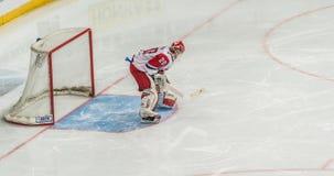 Gardien de but de hockey sur glace pr?t pour la d?fense photo libre de droits