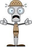 Gardien du zoo effrayé par bande dessinée Robot illustration stock