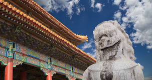 Gardien en pierre Lion Statue en parc de Beihai -- Pékin, Chine Images stock