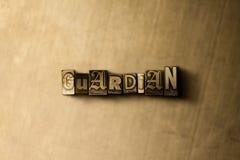 GARDIEN - plan rapproché de mot composé par vintage sale sur le contexte en métal Photo libre de droits