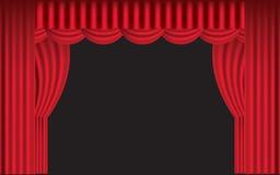 gardin draperad röd etapp stock illustrationer