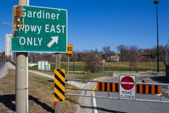 Gardiner Expressway Closed Signs Royalty Free Stock Photo