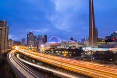 Gardiner Expressway at Rush Hour. TORONTO, CANADA - 30TH DECEMBER 2014: A view of the Gardiner Expressway in Toronto at rush hour showing the rush of traffic stock photo
