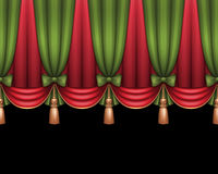 Gardiner för bakgrund för jul röda och gröna teater- eller cirkus, Royaltyfri Bild