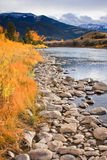 Gardiner River in fall, Montana. The Gardiner River on a warm fall day, Montana Royalty Free Stock Images