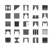 Gardiner & rullgardiner Fönsterförhängear Plan symbolssamling isolerat stock illustrationer