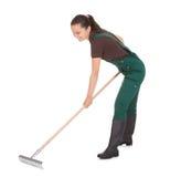 Gardner femelle avec des outils de jardinage Photos libres de droits