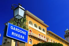 Gardone Riviera, Italy. Sign at the port of Gardone Riviera, Lake Garda, Italy Royalty Free Stock Photos