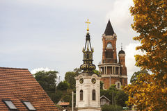 Gardos Tower and orthodox church in Zemun,Serbia Royalty Free Stock Photos