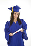 Beautiful Caucasian woman wearing a blue graduation gown holding diploma Stock Photography