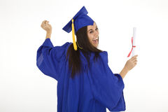 Beautiful Caucasian woman wearing a blue graduation gown holding diploma Stock Images