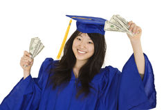 Asian teenage in blue graduation gown holding US money Stock Image