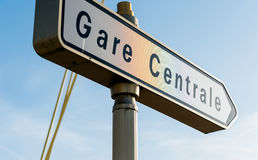 Gare Centrale - Central train station street sign in French city Royalty Free Stock Images