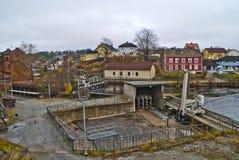 Gare de filtre à l'usine de papier de saugbrugs Images libres de droits