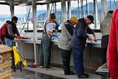 Gare de nettoyage de poissons sur les docks, Seward, Alaska Photos libres de droits