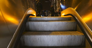 Gare de Strasbourg people waiting. STRASBOURG, FRANCE - CIRCA 2016: Escalator climbing from underground to the old beautiful train station platform of Gare de stock footage