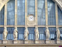 Gare du Nord #4. The large glass roof arch of the central pavillon of the Gare du Nord in Paris. Roman-inspired architecture Stock Photos