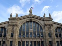 Gare du Nord #1. The monumental facade of the central pavilion of the Gare du Nord in Paris. Roman-inspired architecture Royalty Free Stock Photo