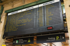 Gare du nord, paris. Departure board at the Gare du Nord, paris. With approximately 180 million passengers per year, this is the busiest railway station of the Stock Images
