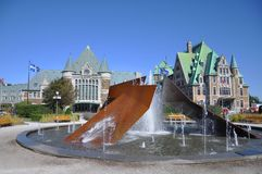 Gare du Palais, terminal del transporte de la ciudad de Quebec, Canadá Imagenes de archivo