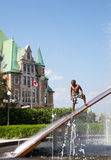Gare du Palais Hydro Quebec Fountain Stock Image