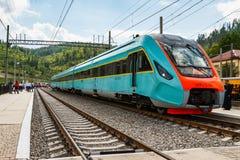 Gare ferroviaire dans les Carpathiens Image libre de droits