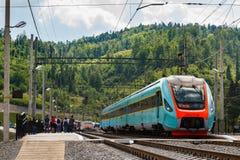 Gare ferroviaire dans les Carpathiens Images libres de droits