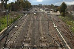 Gare ferroviaire de courant électrique Images libres de droits