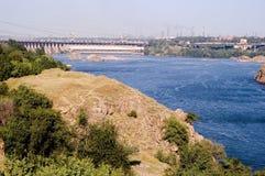 Gare hydro-électrique de Dnieper dans Zaporizhia Images stock